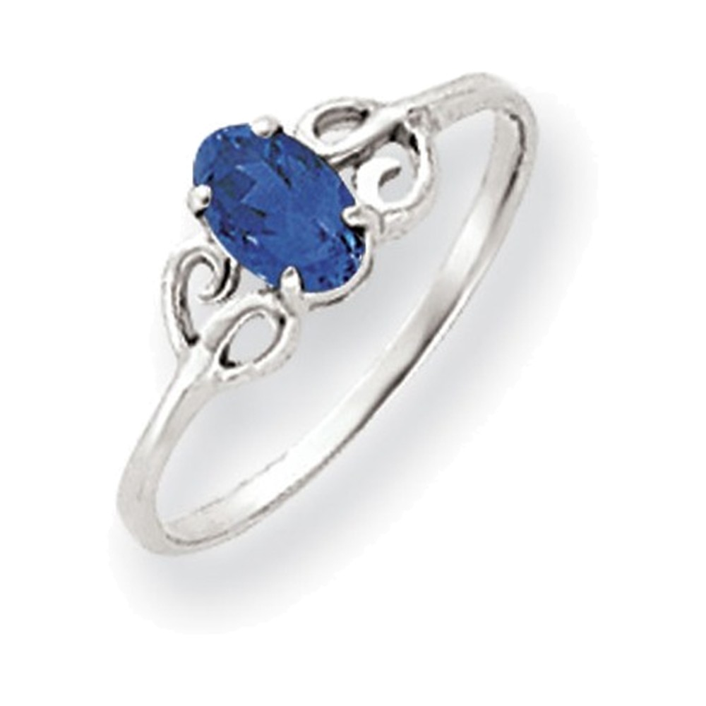 Jewelry Adviser rings 14k White Gold 6x4mm Oval Sapphire ring