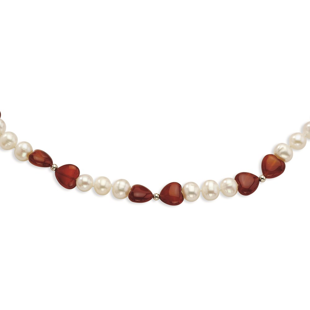 Jewelry Adviser necklaces Sterling Silver Freshwater Cultured Pearl & Red Agate Heart Necklace at Sears.com