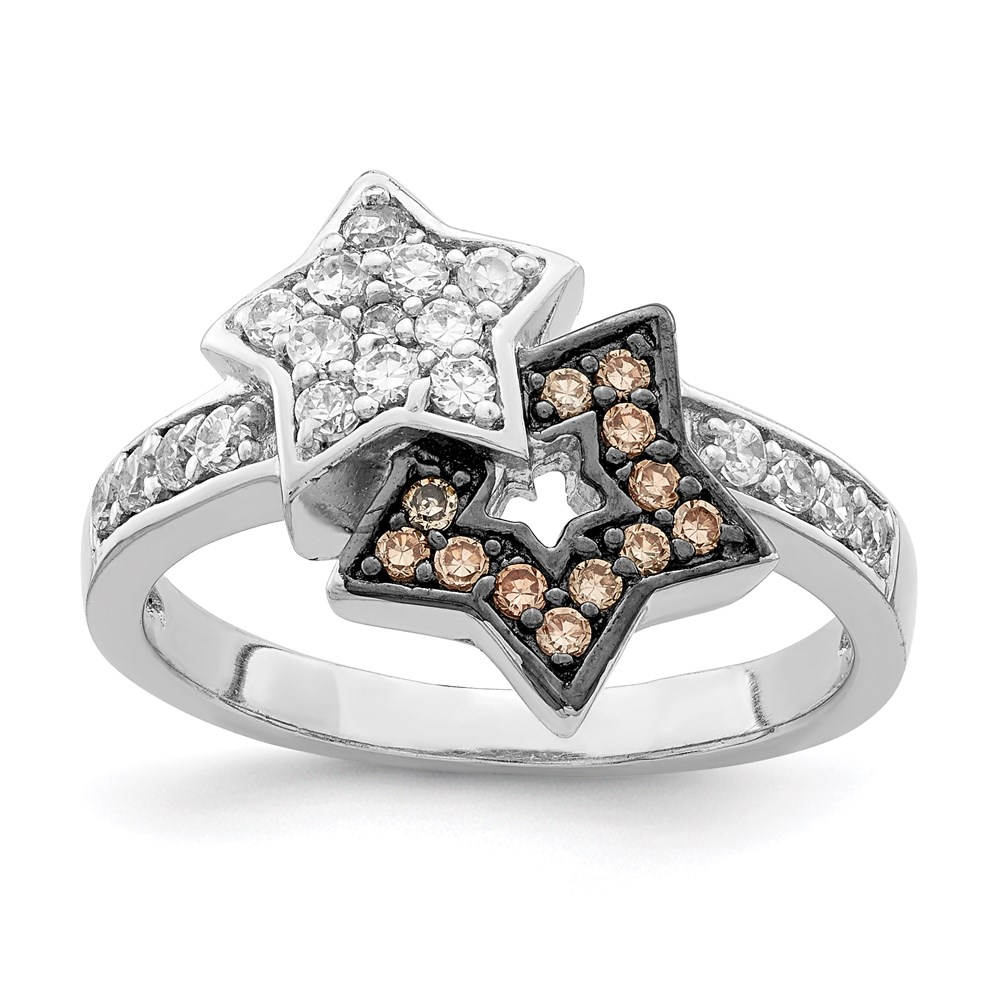 Jewelry Adviser rings Sterling Silver and Black Plating Clear & Champagne CZ Stars Ring Size 6 at Sears.com