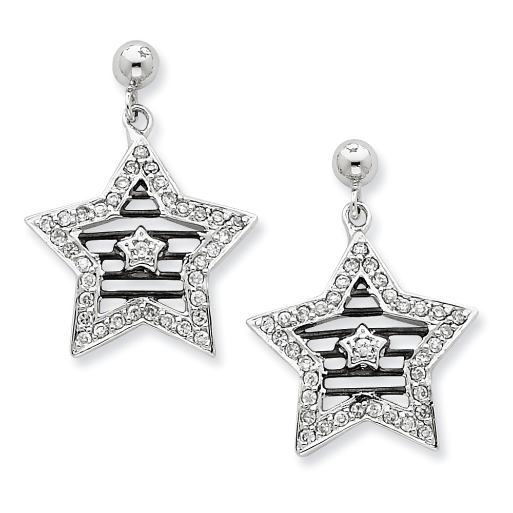 Jewelry Adviser Dangle Earrings Sterling Silver CZ Star w/ Black Rhodium Plating Post Dangle Earrings at Sears.com