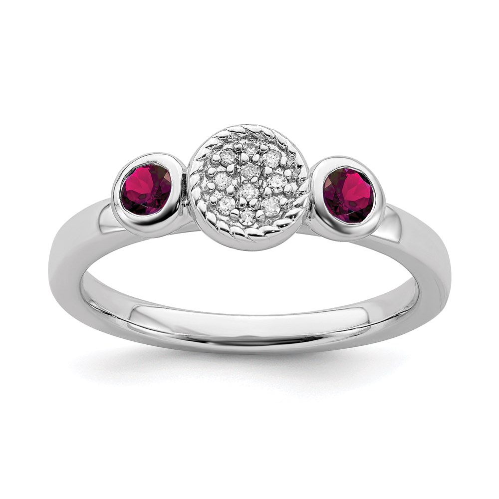Jewelry Adviser Stackable Rings Sterling Silver Stackable Expressions Db Round Cr. Ruby & Dia. Ring Size 5 at Sears.com