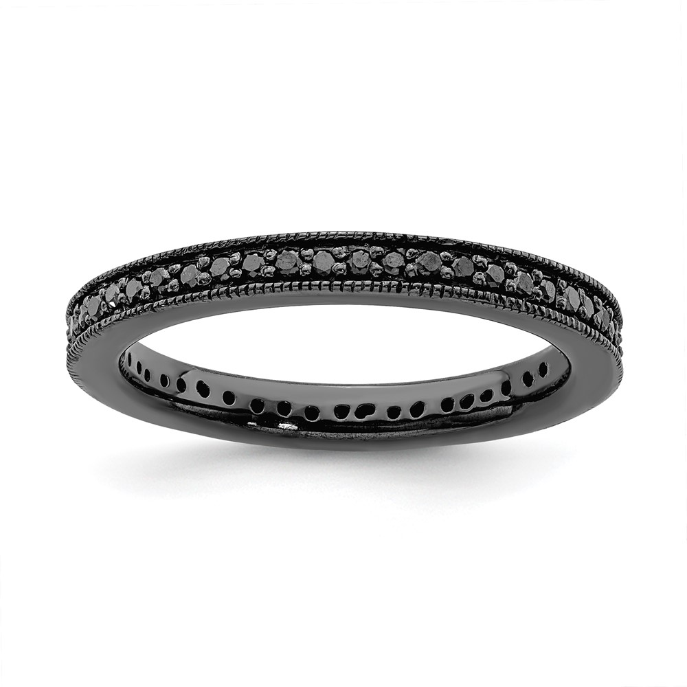 Jewelry Adviser Stackable Rings Sterling Silver Stackable Expressions Polished Black Dia Ring Size 5 at Sears.com