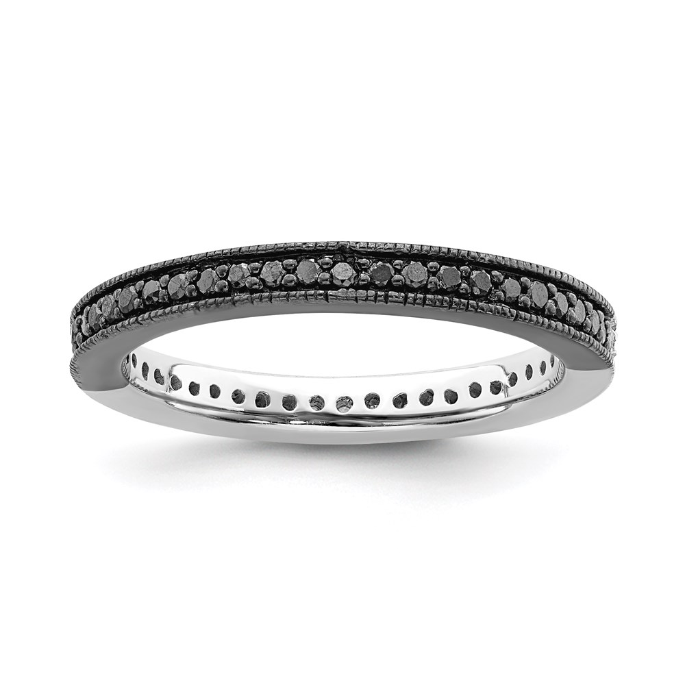 Jewelry Adviser Stackable Rings Sterling Silver Stackable Expressions Polished Half Black/White Dia Ring Size 5 at Sears.com