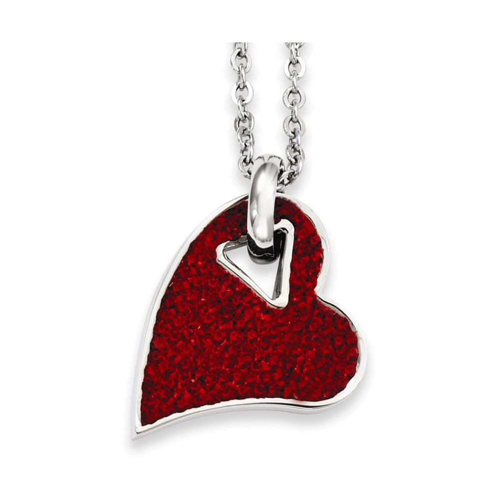 Jewelry Adviser Pendant Necklaces Stainless Steel Red Crystal Heart Pendant Necklace