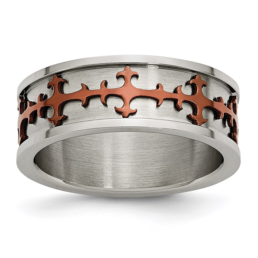 Jewelry Adviser rings Stainless Steel Chocolate IP-plated Crosses Ring Size 7.5 at Sears.com