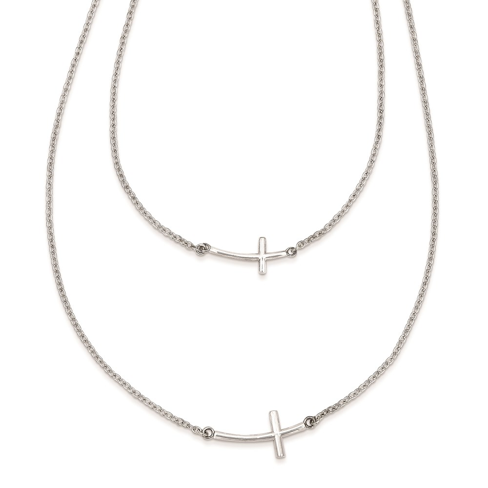 Jewelry Adviser necklaces Sterling Silver Small & Large Sideways Curved Cross 2-Layer Necklace at Sears.com