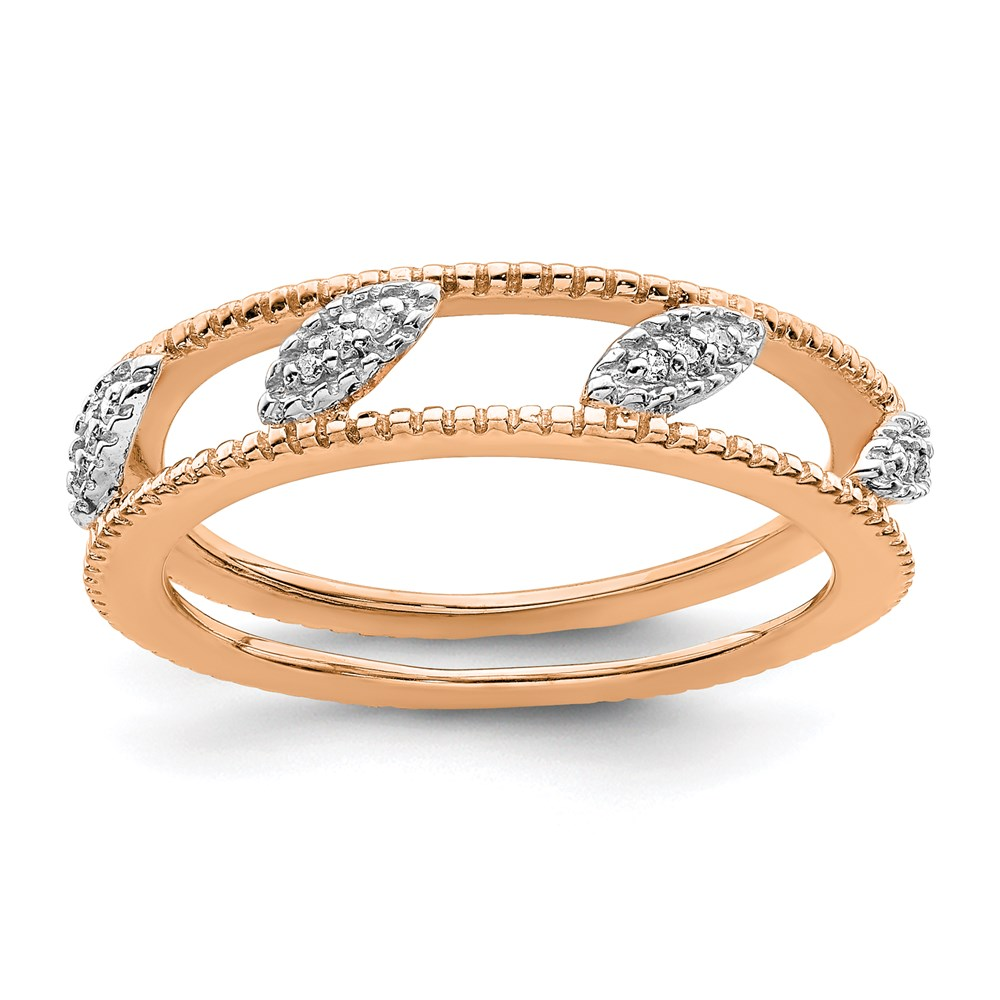 Jewelry Adviser Stackable Rings Sterling Silver Stackable Expressions Rose Gold-plated Dia Jacket Ring Size 5 at Sears.com