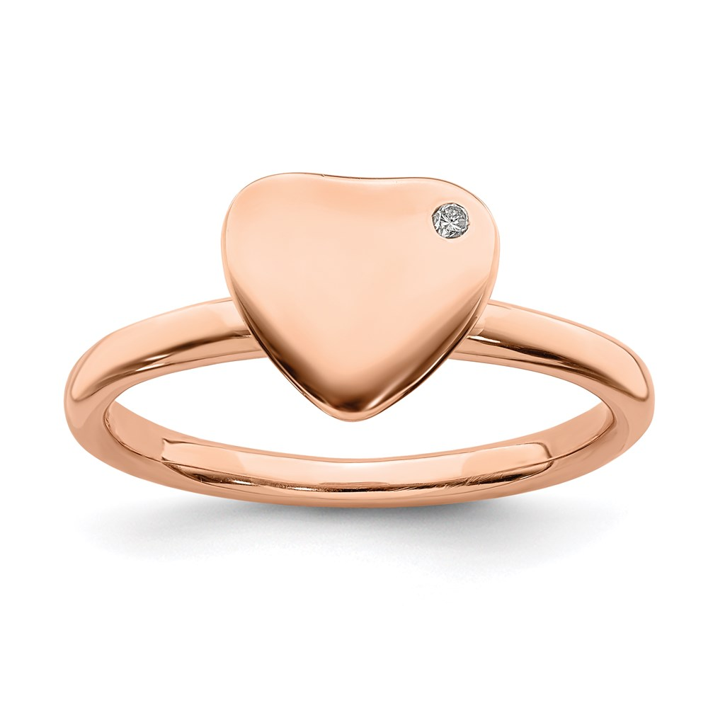 Jewelry Adviser Stackable Rings Sterling Silver Stackable Expressions Rose Gold-plated Heart Dia Ring Size 5 at Sears.com