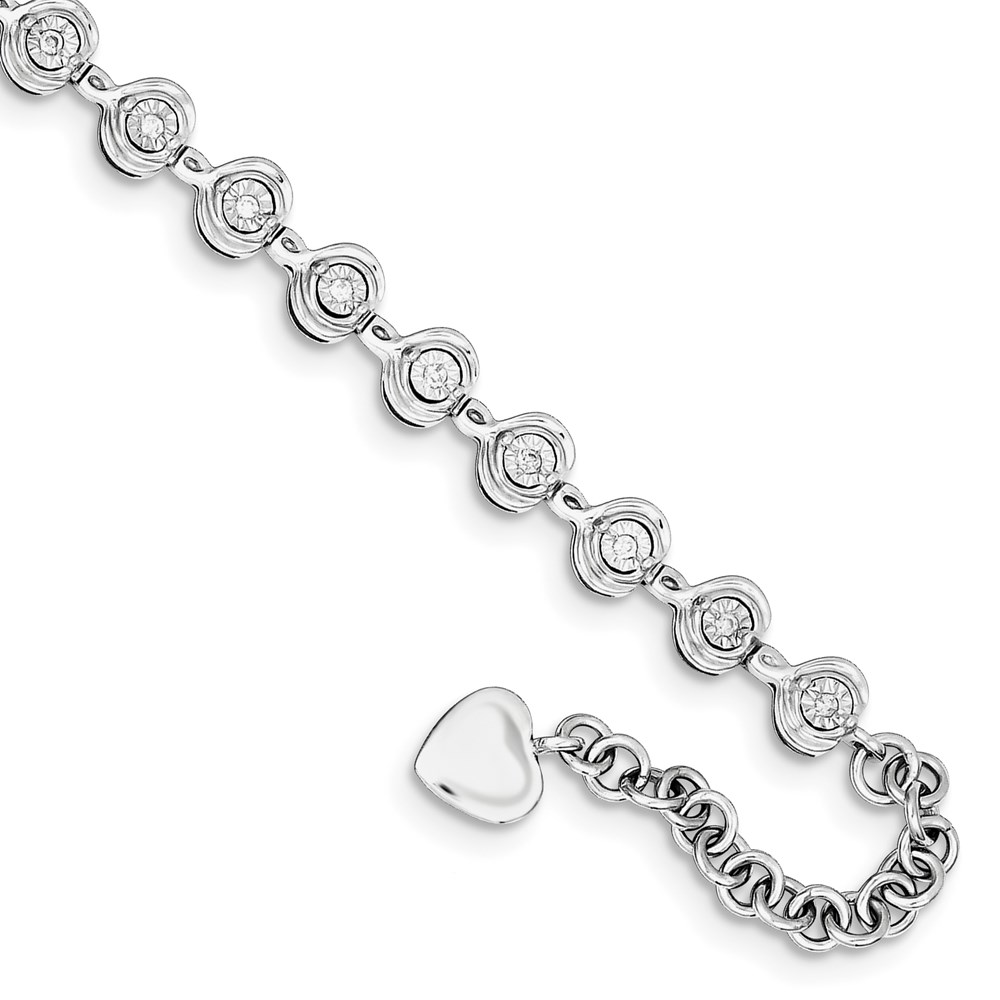 Jewelry Adviser bracelets Sterling Silver Rhodium Plated Dia. Heart Charm 1.5in ext. Bracelet at Sears.com