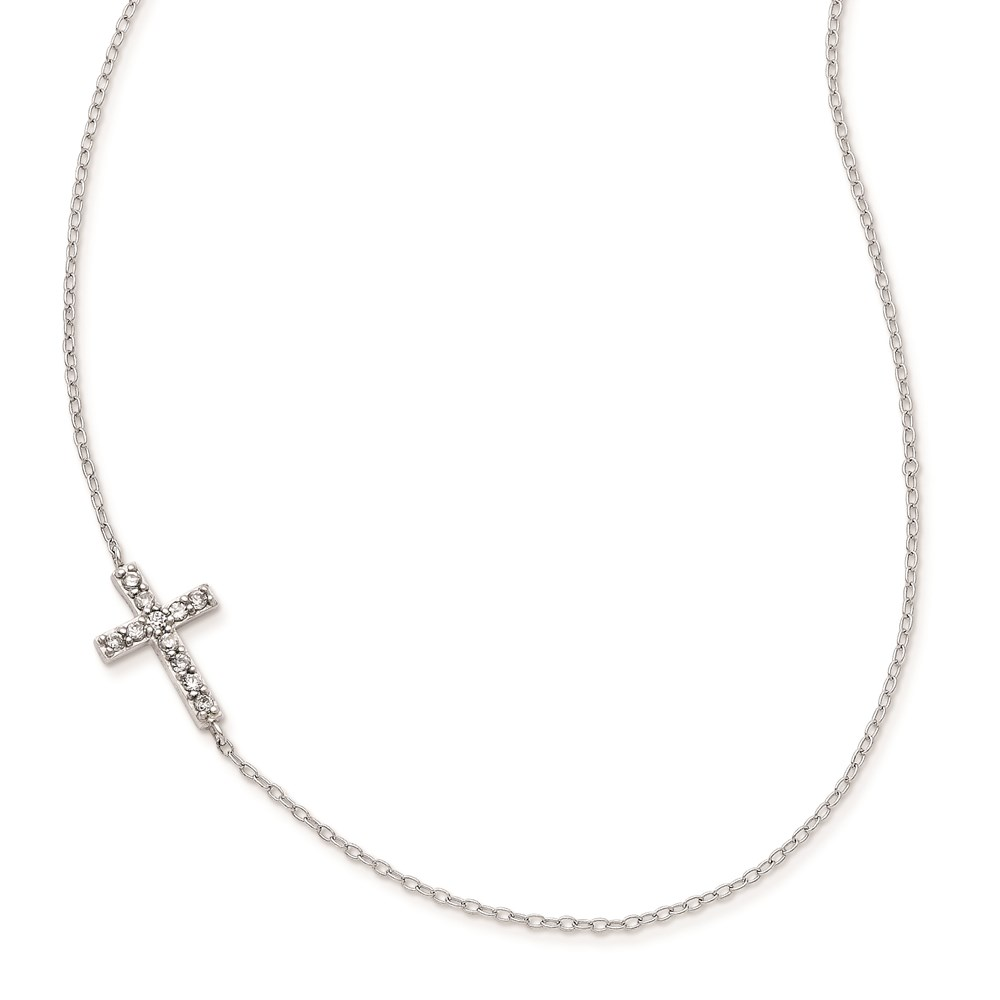 Jewelry Adviser necklaces Sterling Silver with CZ Offset Sideways Cross w/ 2 IN EXT Necklace at Sears.com