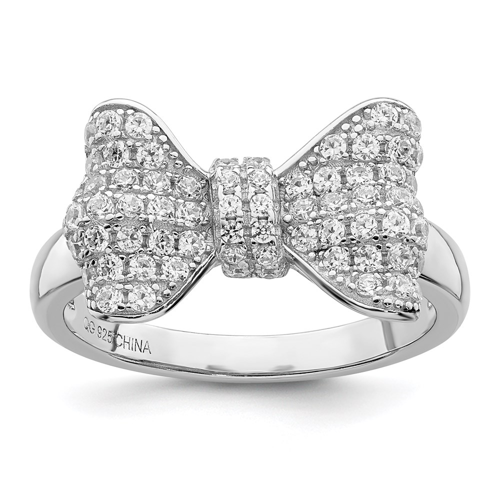 Jewelry Adviser rings Sterling Silver & CZ Brilliant Embers Bow Ring Size 8 at Sears.com