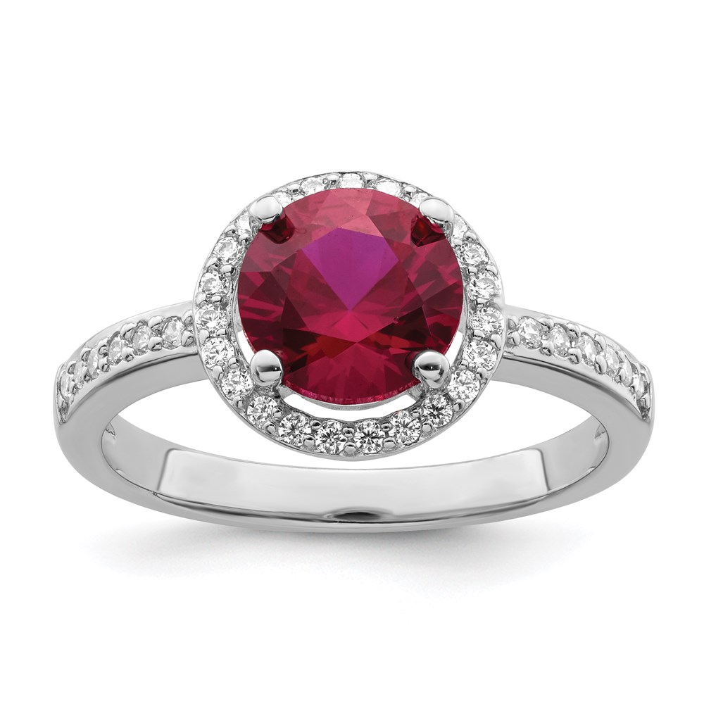 Jewelry Adviser rings Sterling Silver & CZ Brilliant Embers Red Corundum Polished Ring Size 8 at Sears.com