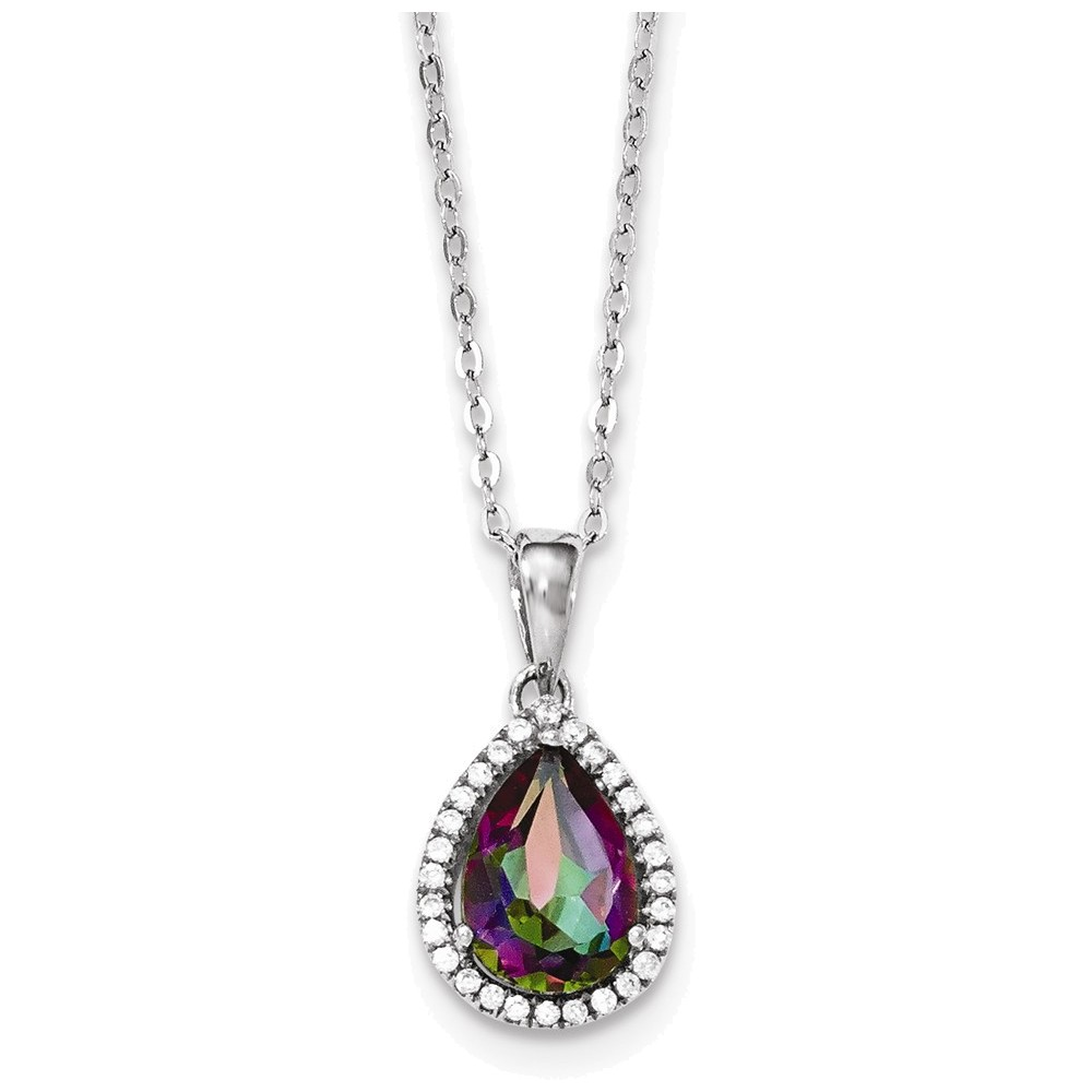 Jewelry Adviser necklaces Sterling Silver Polished Mystic Topaz & CZ Necklace