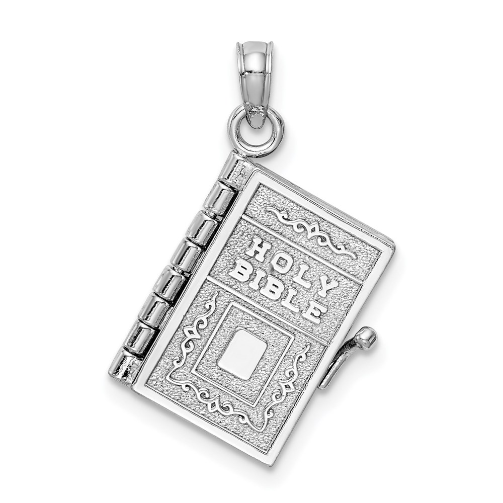 Jewelry Adviser pendants 14K White Gold Satin & Polished 3-D Holy Bible Book w/Lords Prayer Pendant at Sears.com