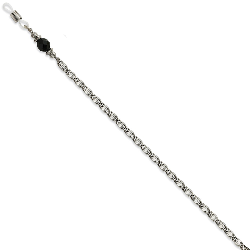 "Jewelry Adviser Beads Black Crystal Bead Eyeglass Holder Silver-tone 30"" Chain at Sears.com"