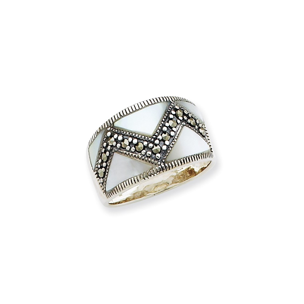 Jewelry Adviser rings Sterling Silver Marcasite & Mother of Pearl Ring Size 8 at Sears.com