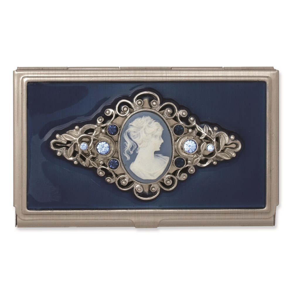 Jewelry Adviser Gifts Steel Blue Enameled & Cameo Business Card Holder at Sears.com
