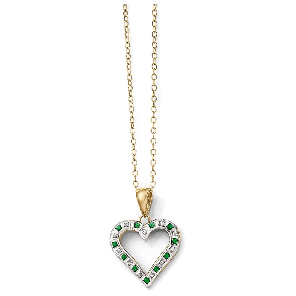 Jewelry Adviser necklaces Sterling Silver & Gold-plated Dia. & Emerald 18in Heart Necklace